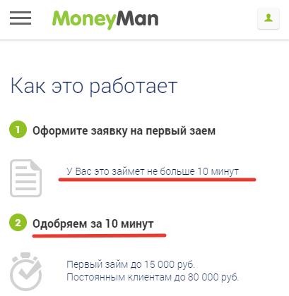 МФО MoneyMan выдает займ на карту быстро