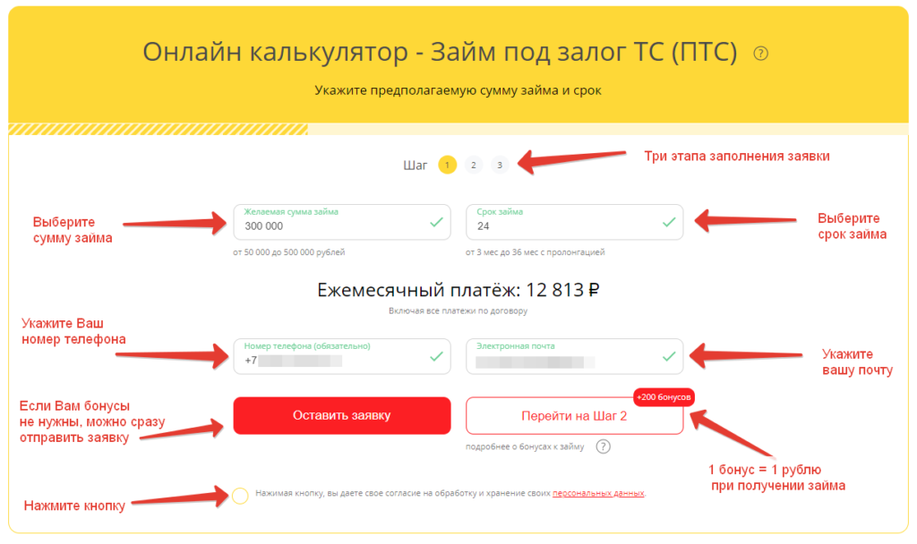 "Пример заполнения заявки на займ под залог ПТС в ""Здесь Легко"""